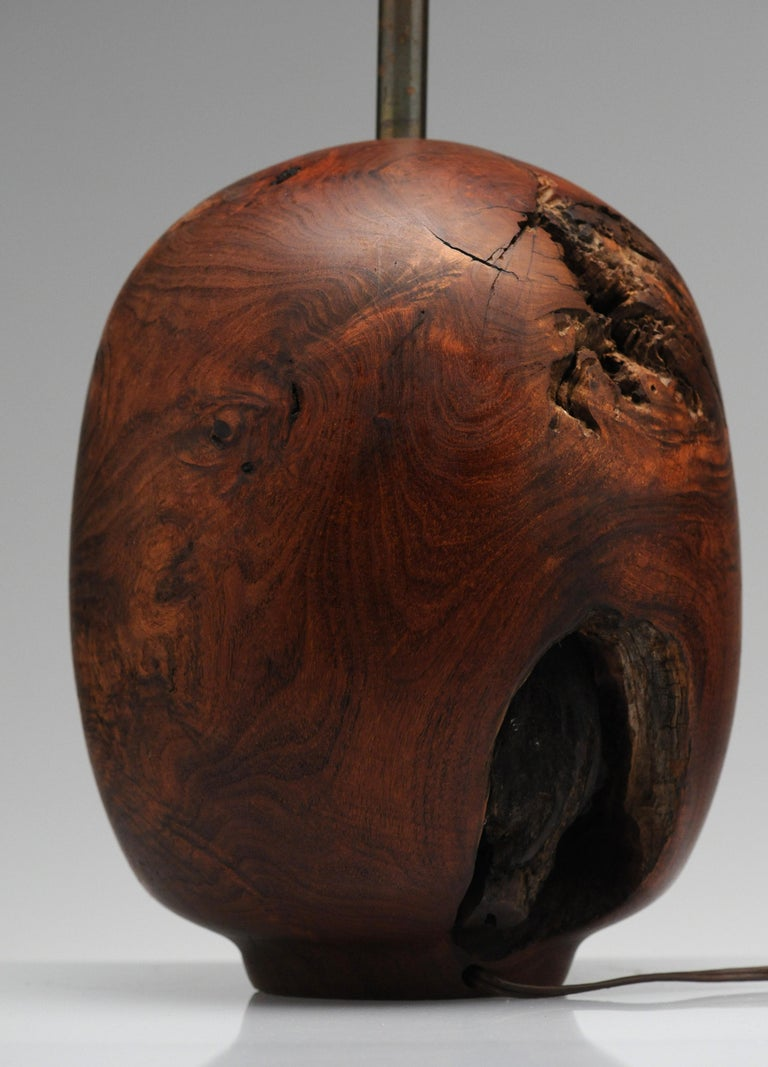 Organic Sculpture Turned Mesquite Table Lamp by Chris Eggers For Sale 6
