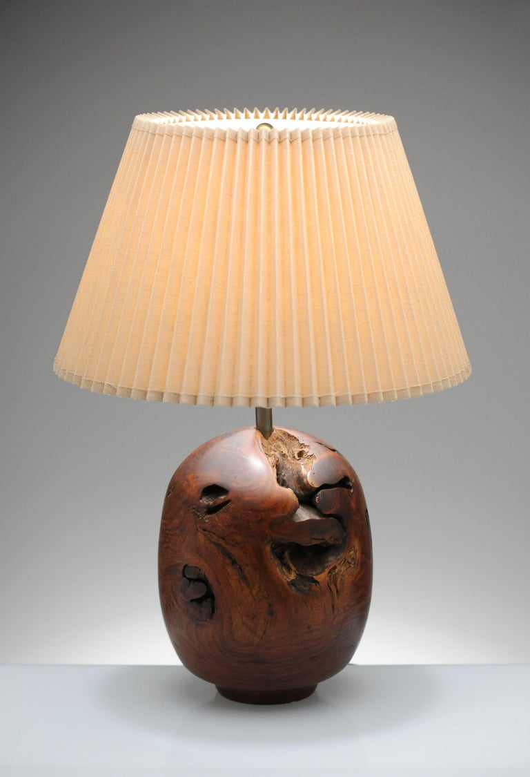 Organic Sculpture Turned Mesquite Table Lamp by Chris Eggers For Sale 10