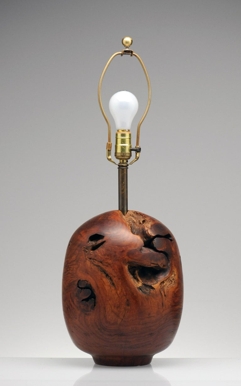 Organic Sculpture Turned Mesquite Table Lamp by Chris Eggers In Good Condition For Sale In Washington, DC