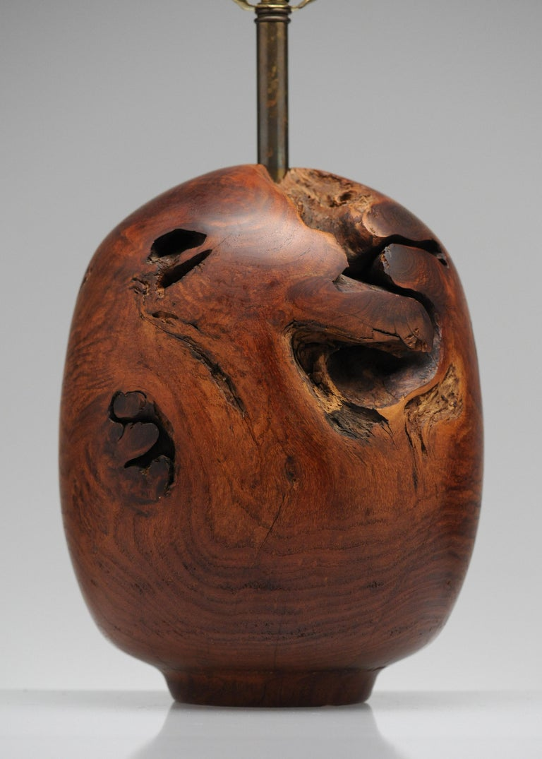 Late 20th Century Organic Sculpture Turned Mesquite Table Lamp by Chris Eggers For Sale