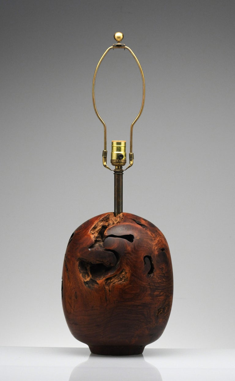 Wood Organic Sculpture Turned Mesquite Table Lamp by Chris Eggers For Sale