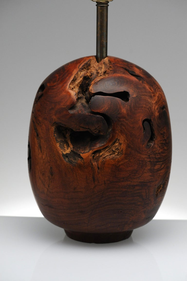 Organic Sculpture Turned Mesquite Table Lamp by Chris Eggers For Sale 1
