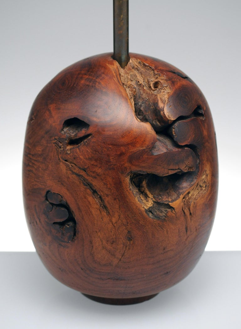 American Organic Sculpture Turned Mesquite Table Lamp by Chris Eggers For Sale