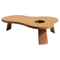 Organic Shape Cork and Mahogany Coffee Table with Planter