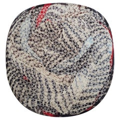 Organic Shape Rug Grey Beige Red Hues by Deanna Comellini