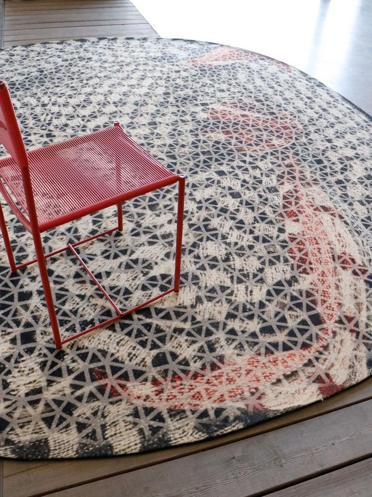 Italian Organic Shape Squared Rug High Performance Fibers by Deanna Comellini 190x200 cm For Sale