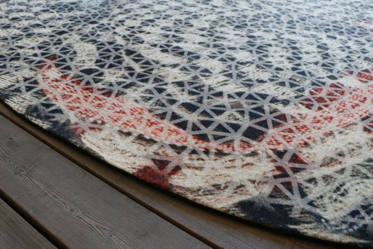 Woven Organic Shape Squared Rug High Performance Fibers by Deanna Comellini 190x200 cm For Sale