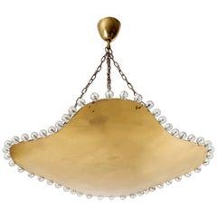 Organic Shaped Pendant Light Uplight Bowl, Brass Cut Crystal Glass, 1960