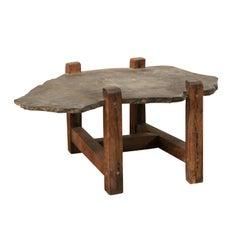 Organic-Shaped Slate Top Coffee Table on Wood Base