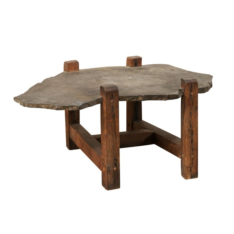 Slate And Glass Coffee Table For Sale: Organic-Shaped Slate Top Coffee Table On Wood Base For