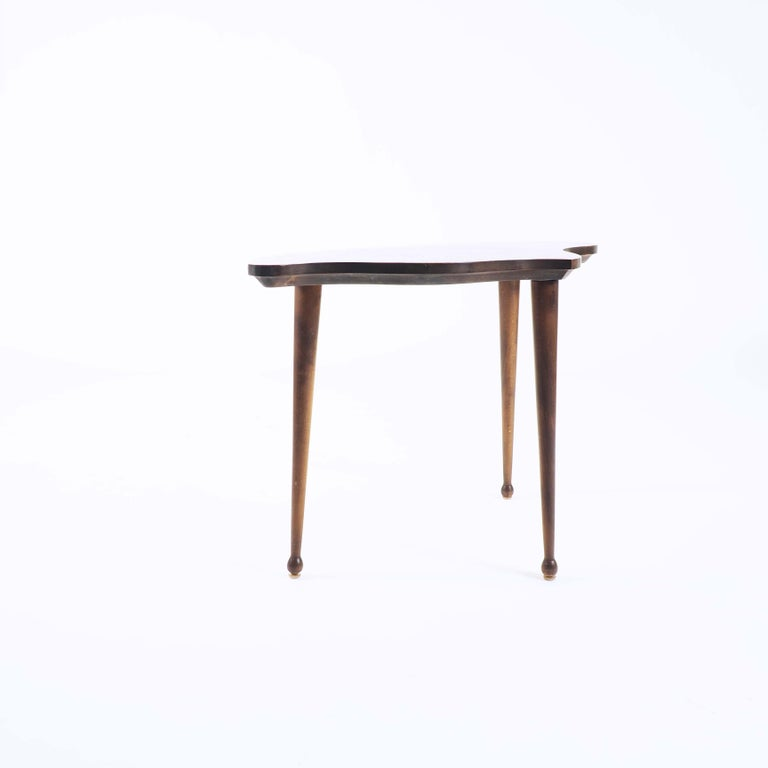 Organic Shaped Swedish Side Table with Inlaid Wood In Good Condition For Sale In Goteborg, SE