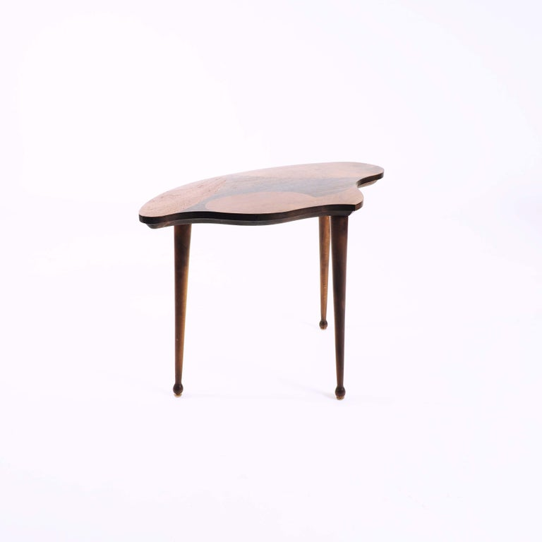 Mid-20th Century Organic Shaped Swedish Side Table with Inlaid Wood For Sale