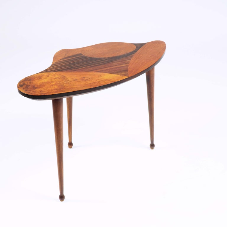 Teak Organic Shaped Swedish Side Table with Inlaid Wood For Sale