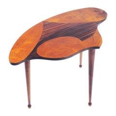 Organic Shaped Swedish Side Table with Inlaid Wood