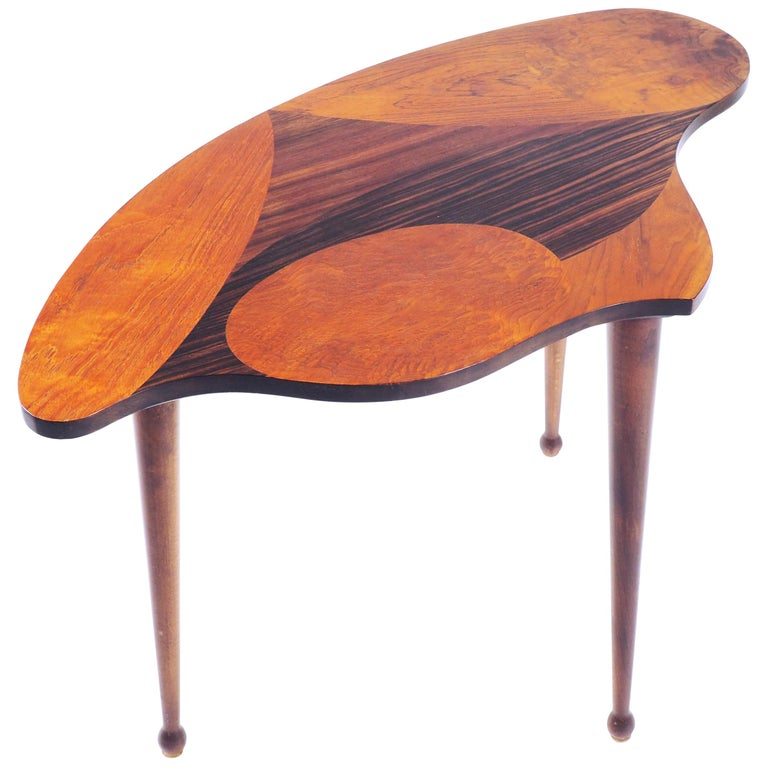 Organic Shaped Swedish Side Table with Inlaid Wood For Sale