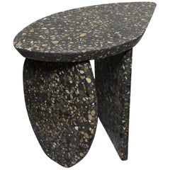 Organic Side Table Pierre in Terrazzo Made of Rhone River Pebbles in Stock