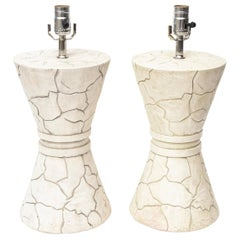 Pair of Organic Signed Ceramic Lamps Vintage