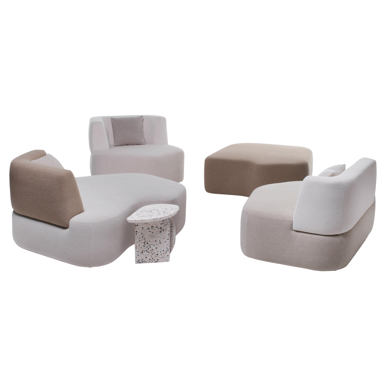 Organic Sofa in White Cream Brown Wool Handmade in France in Stock