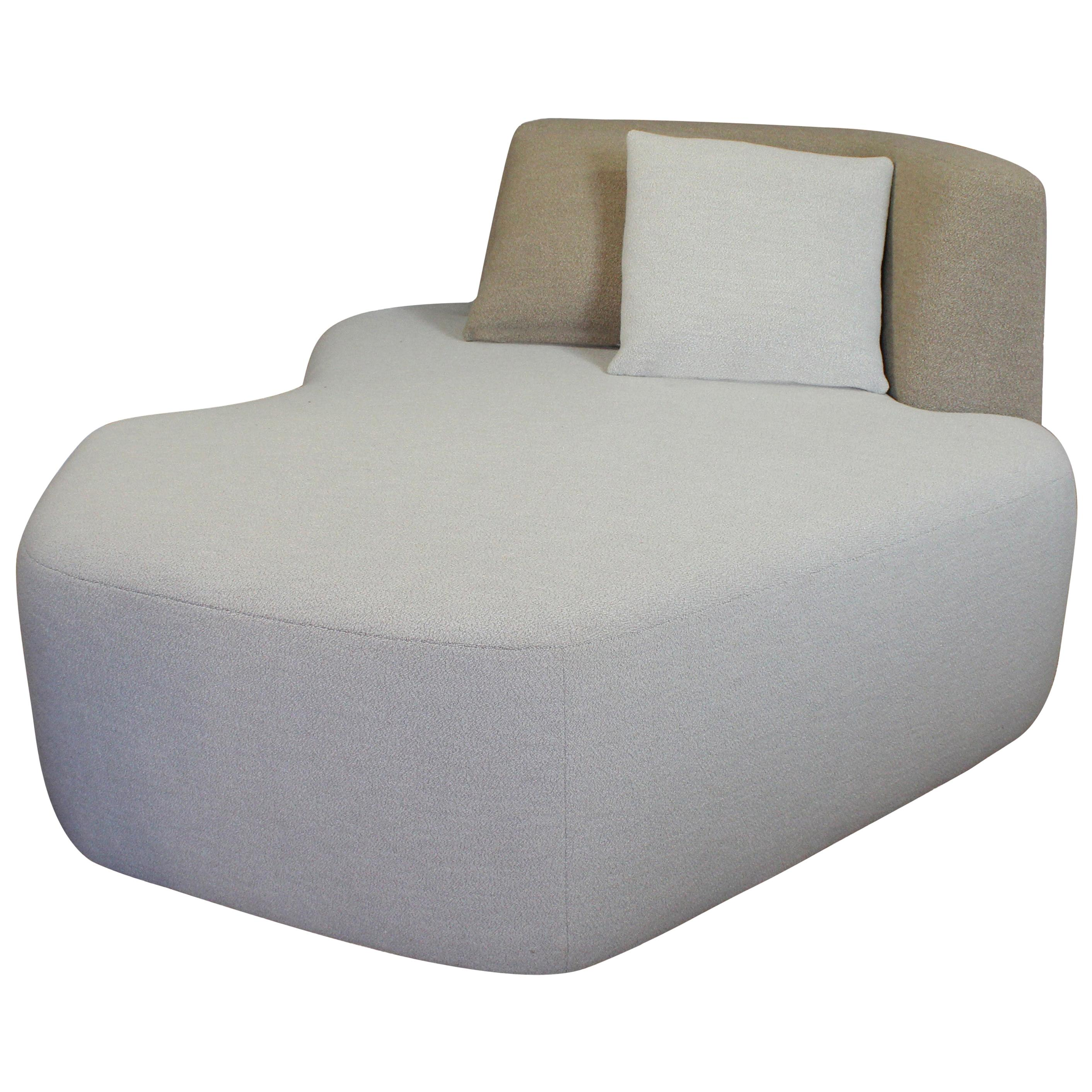 Organic Sofa Pierre in Cream and Brown Wool Design Eric Gizard Made in France