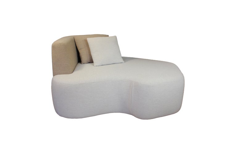 Hand-Crafted Organic Sofa Pierre in Cream and Brown Wool For Sale