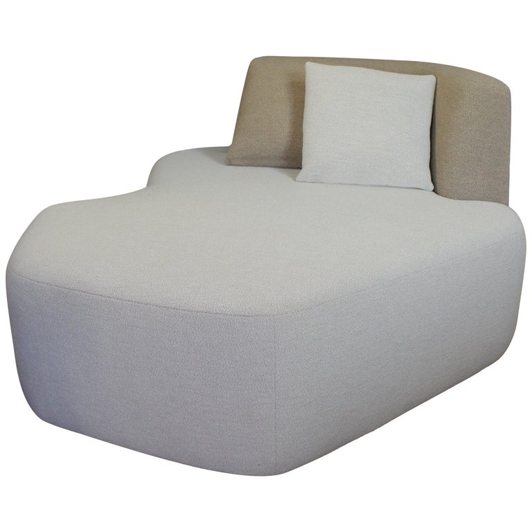 Organic Sofa Pierre in Cream and Brown Wool For Sale