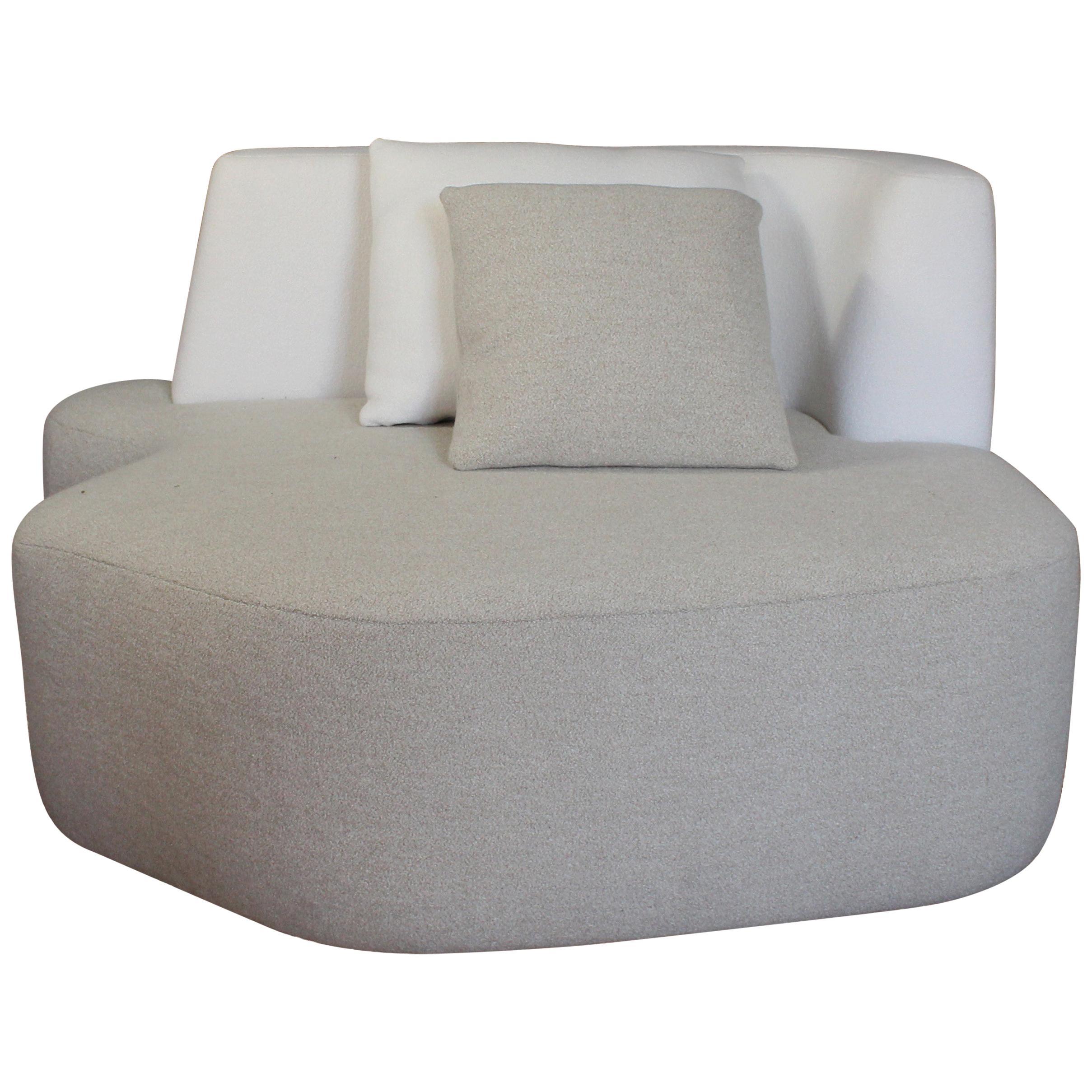 Organic Sofa Pierre in White and Cream Wool