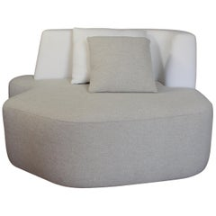Organic Sofa Pierre in White and Cream Wool