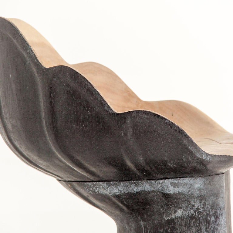 European Organic Solid Wood Leaf Shaped Armchair For Sale