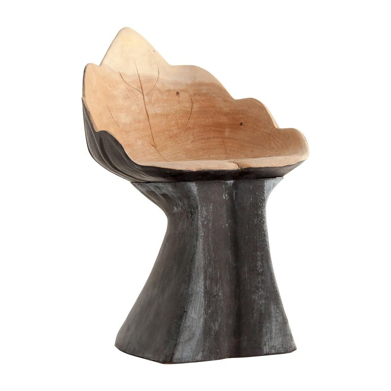 Contemporary Organic Solid Wood Leaf Shaped Armchair For Sale