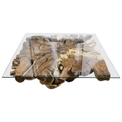 Organic Sonokeling Wood Root Table with Safety Glass Table Top