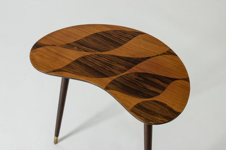 Scandinavian Modern Organic Swedish Midcentury Coffee/Occasional Table with Inlaid Wood For Sale