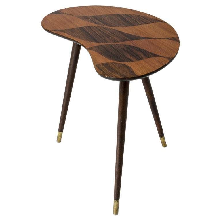Organic Swedish Midcentury Coffee/Occasional Table with Inlaid Wood For Sale