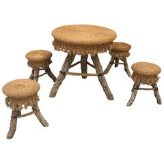 Organic Table and Its 4 Stools, Rattan, Rafia, Rope and Branches, circa 1970