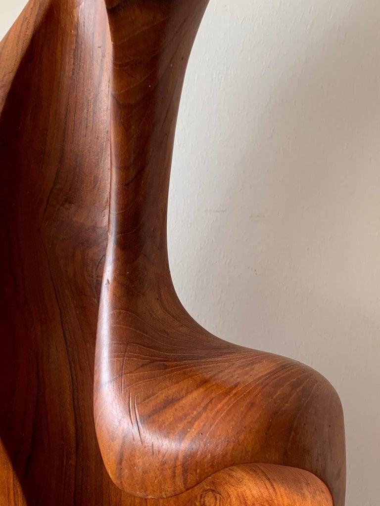 Mid-Century Modern Organic Teak Wood Sculpture Signed Appu For Sale