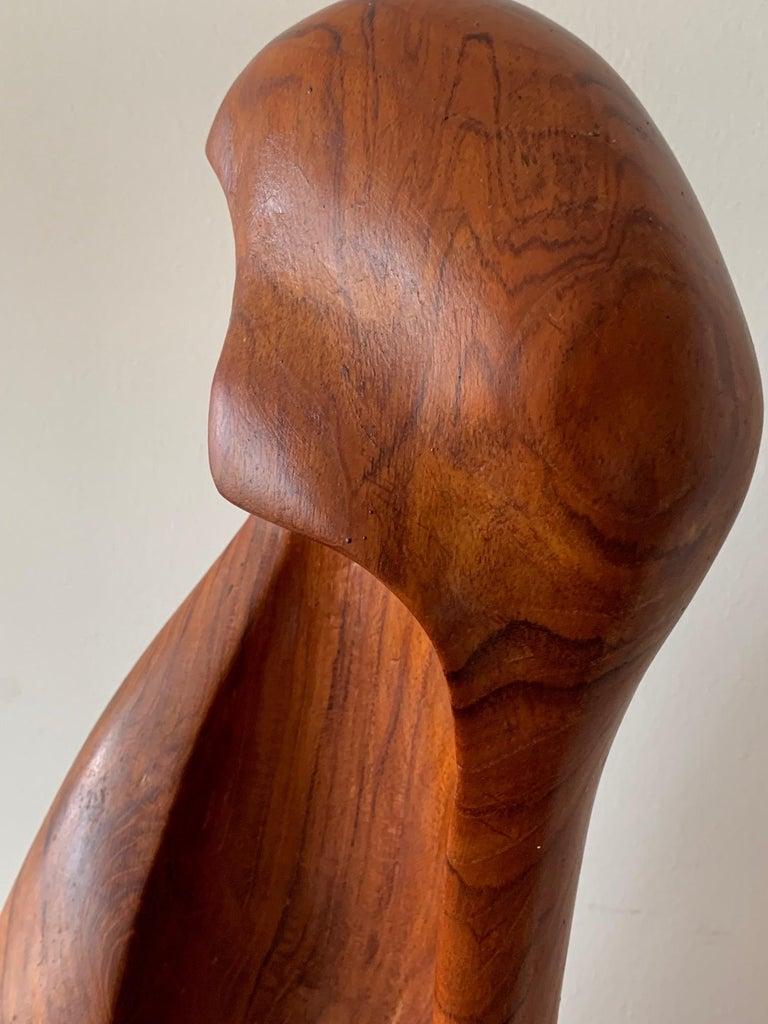 Indian Organic Teak Wood Sculpture Signed Appu For Sale