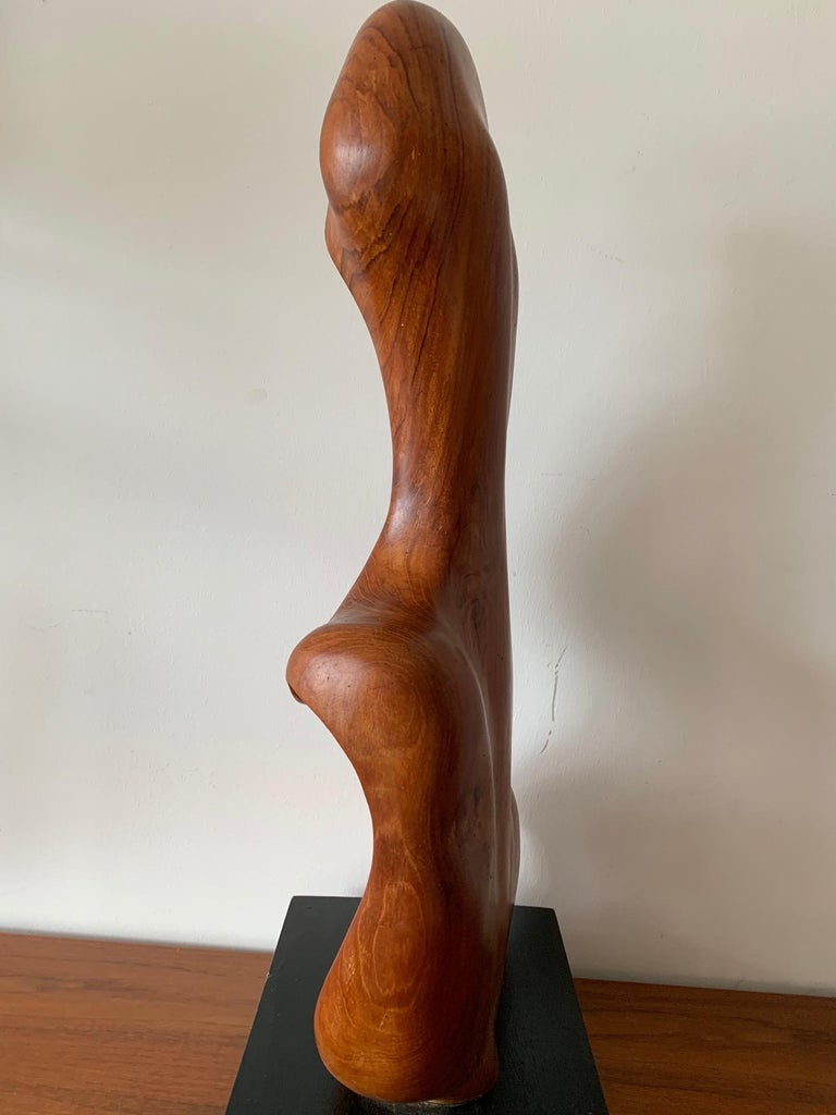 Organic Teak Wood Sculpture Signed Appu In Good Condition For Sale In St.Petersburg, FL