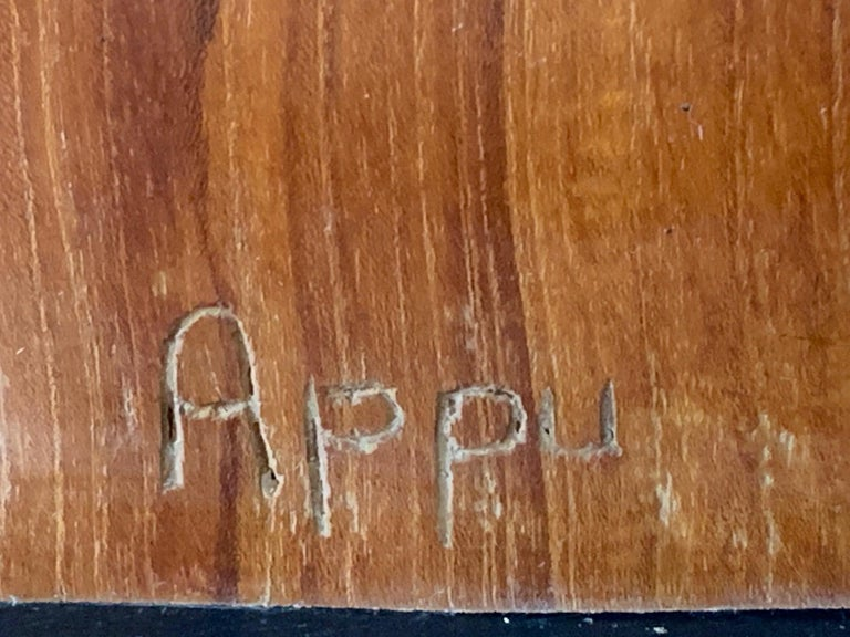 Mid-20th Century Organic Teak Wood Sculpture Signed Appu For Sale