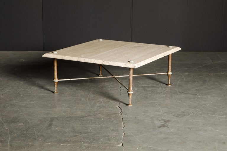 Organic Travertine Coffee Table by Stone International Italy, 1970s, Signed For Sale 4