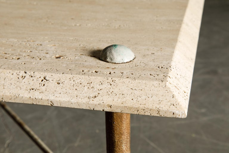 Organic Travertine Coffee Table by Stone International Italy, 1970s, Signed For Sale 6