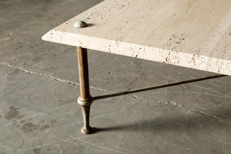Organic Travertine Coffee Table by Stone International Italy, 1970s, Signed For Sale 9