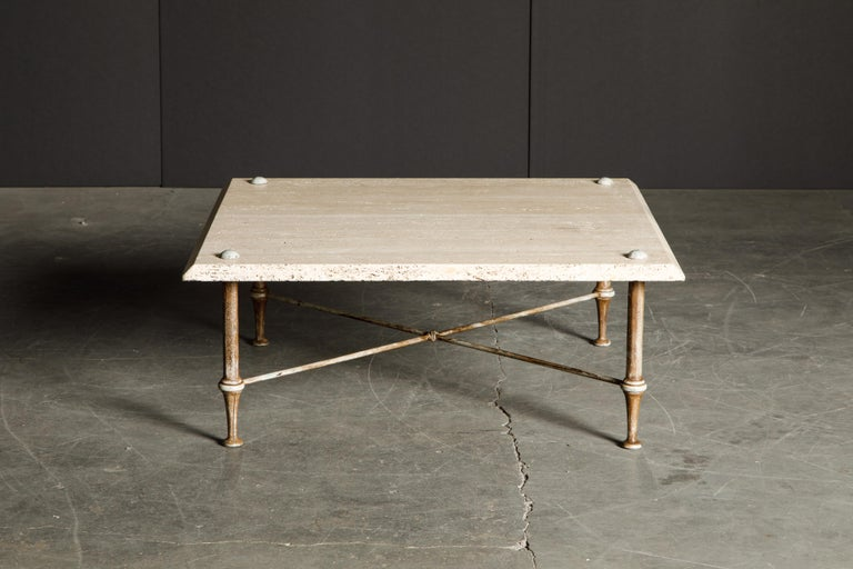 American Organic Travertine Coffee Table by Stone International Italy, 1970s, Signed For Sale