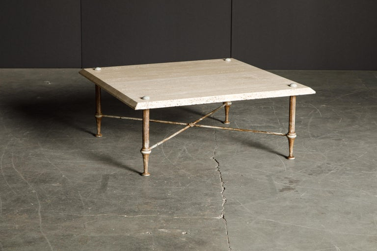 Organic Travertine Coffee Table by Stone International Italy, 1970s, Signed For Sale 1