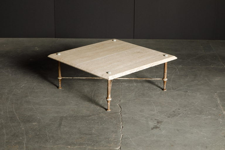 Organic Travertine Coffee Table by Stone International Italy, 1970s, Signed For Sale 3
