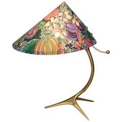 Organic Tripod Brass Table Lamp Flower Shade Josef Frank Style 1950
