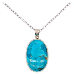 Organic Turquoise Pendant in Sterling Silver w Handmade Bezel w Oval Cable Chain