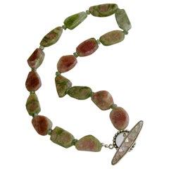 Organic Watermelon Tourmaline Slices Choker Necklace, Tanzy Necklace