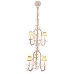 Organic White Faux Coral Branch Two-Tiered Chandelier