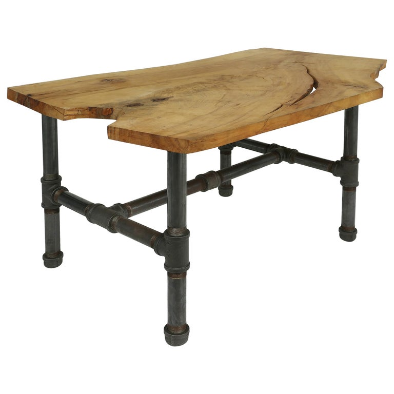 Organic Wood Slab Coffee Table With Industrial Iron Base For Sale