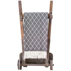 Organic Wool Blanket/Throw in Black Diamond Pattern made in Portugal