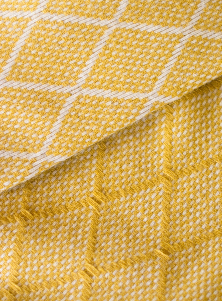 Organic Modern Organic Wool Blanket or Throw in Yellow Diamond Pattern Made in Portugal For Sale